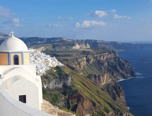 TripAnthropologist hero image:Fira church on Santorini caldera Fira to Oia hike