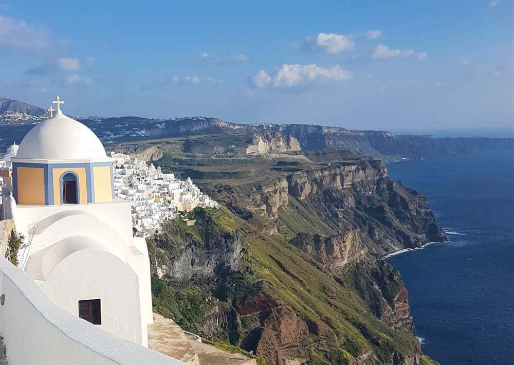 TripAnthropologist hero image:Fira church on Santorini caldera Fira to Oia hike