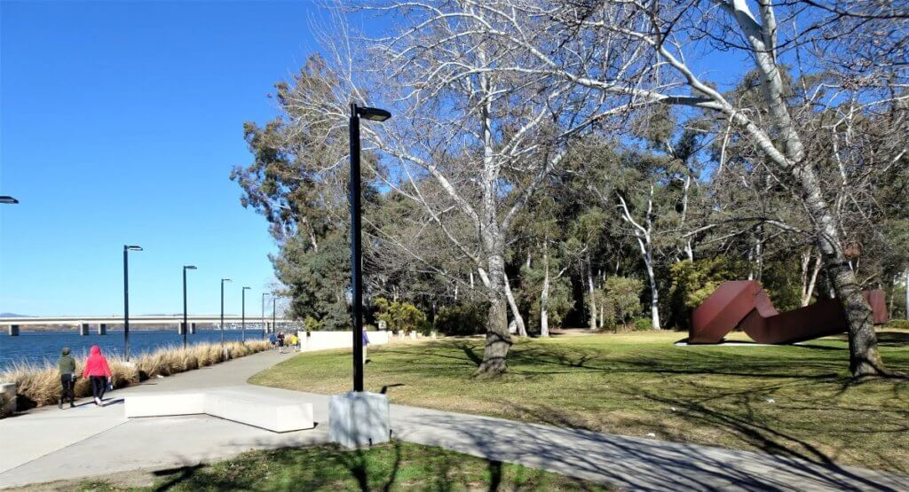 sculpture garden lakeside path