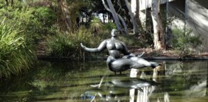national sculpture garden: Floating figure sculpture