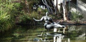 Floating figure sculpture