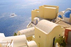 Sailing around santorini island