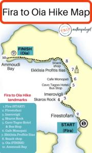 santorina oia map of fira to oia hike