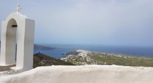 Church at peak on Santorini clif-top hike from fira to oia