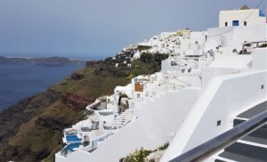 View from Fira on Santorini caldera cliff-top walk from fira to oia