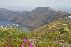 View across caldera on hike from fira to oia in Santorini