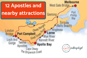 Map of 12 Apostles Australia and nearby attractions
