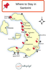 Map of where to stay in santorini