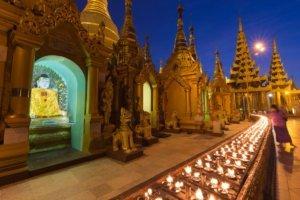 Stupas at night at shwedagon pagoda