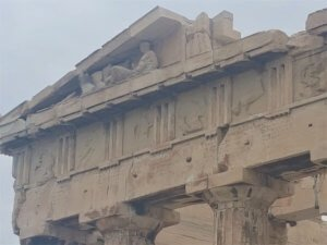 Parthenon roof detail when visiting the Acropolis