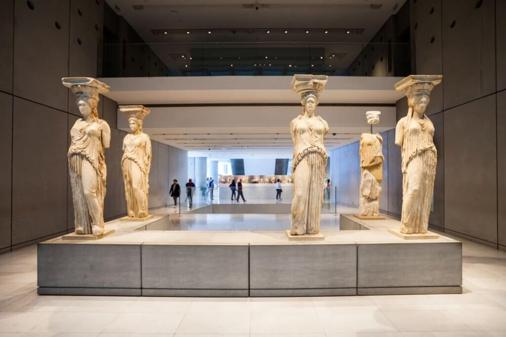 Caryatids when visiting the Acropolis Museum