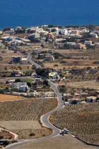 Road into Pyrgos village Santorini