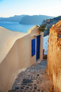 Santorini island narrow streets