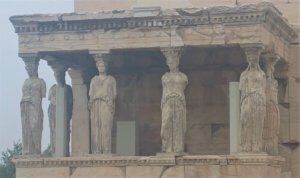 Caryatids when visiting the Acropolis, Athens, Greece