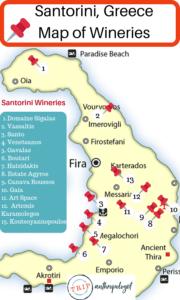 Santorini Greece Map of Wineries