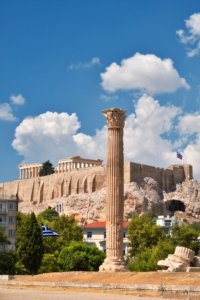 Temple of Zeus with Acropolis in the Background in Athens, Greece
