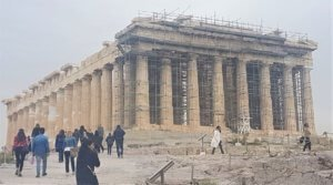 View of the Parthenon when visting the Acropolis