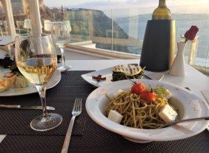 santorini dinner with local wine