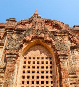 Gubyaukgyi Temple detail in Bagan (Nyaung U), Burma.