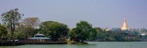 Inya lake in Yangon, Myanmar with the Shwedagon Pagoda in background.