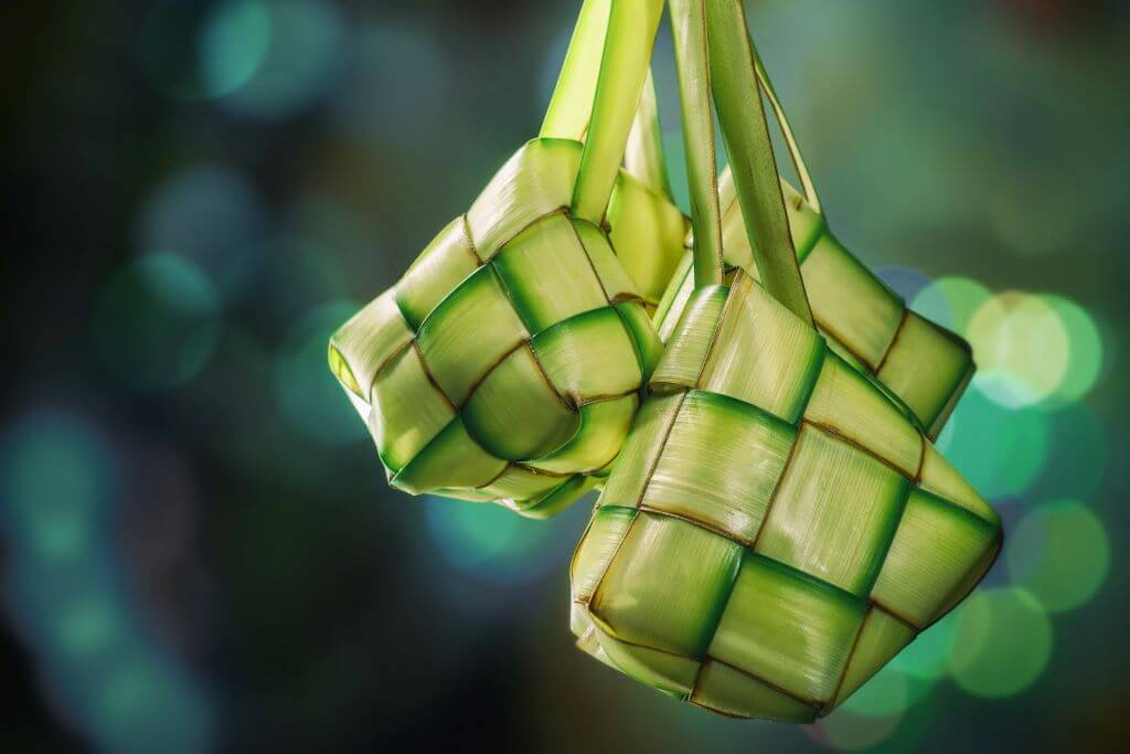 Indonesia food vegetarianKetupat with Bokeh Background