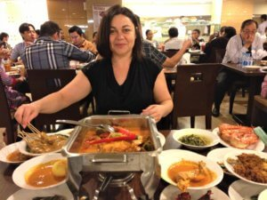 Monique from TripAnthropologist at Indonesian restaurant, Jakarta