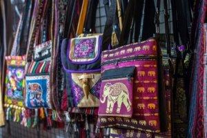 Traditional handicraft bags sold in market, Myanmar