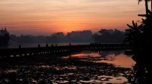 sunset at Kandawgyi lake