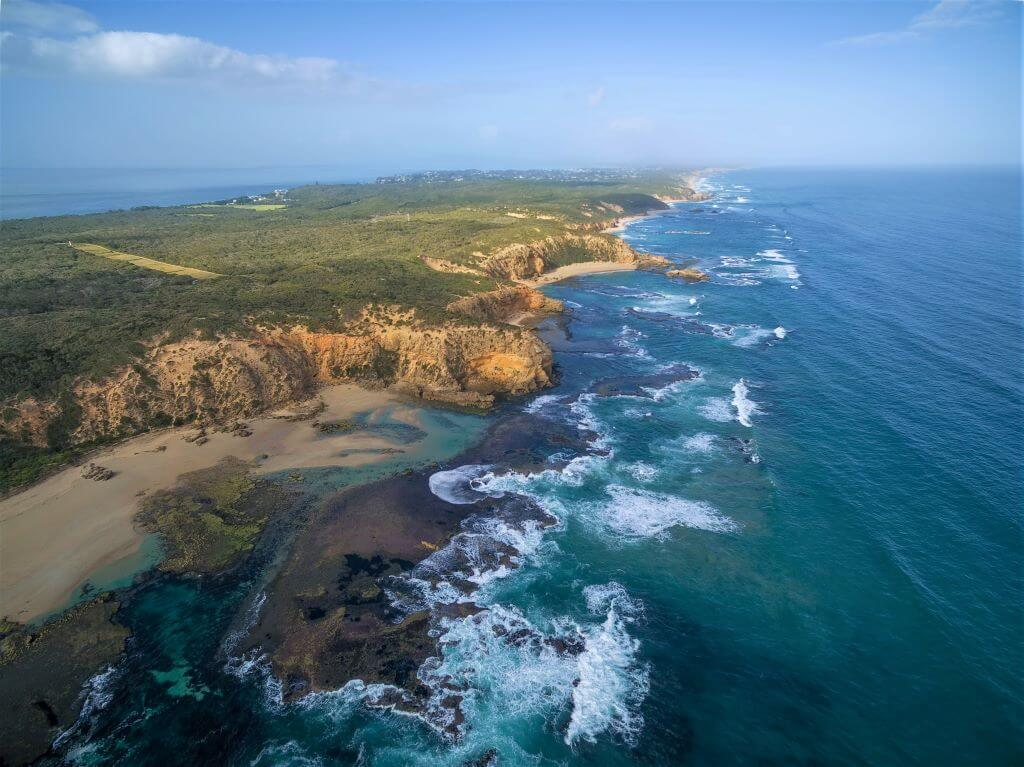 Aerial view of Point Nepean National Park coastline
