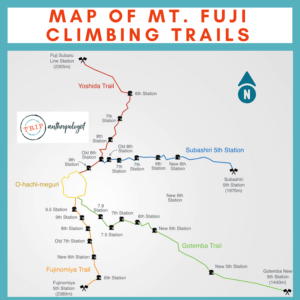 MAP OF MT. FUJI CLIMBING TRAILS