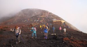 hiking at summit of mount fuji