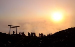 sunrise at summit of mount fuji