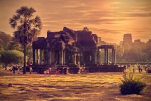 Angkor Wat at sunrise, Archaeological Park in Siem Reap, Cambodia UNESCO World Heritage Site