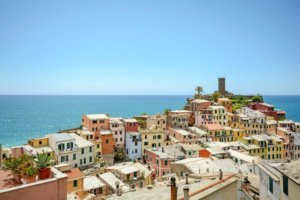 View on roof landscape and castle of Vernazza, village in the Cinque Terre, Liguria Italy Europe