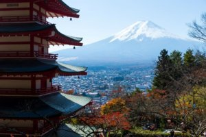 Chureito Pagoda and Mountain Fujisan with Blue Sky