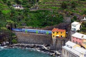 Passenger Train Departing Vernazza Italy