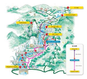 Shosenkyo Gorge map