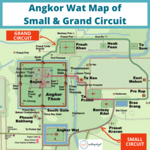 Cambodian Temple Angkor Wat Map of Small & Grand Circuit
