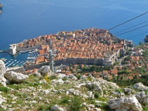 Dubrovnik old city as seen from the hilltop of Mt. Srd,