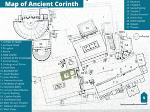 Map of Ancient Corinth and Acrocorinth