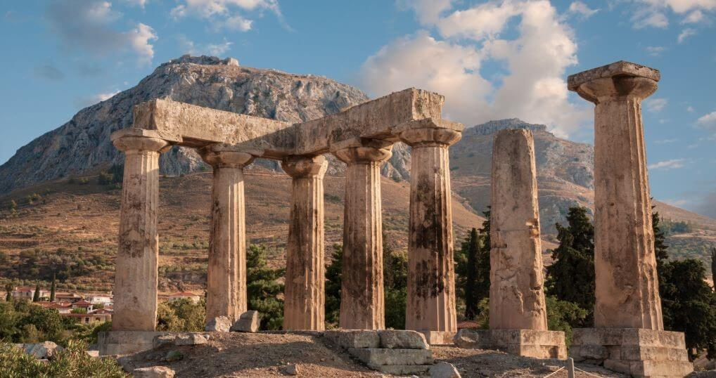 Ruins of Apollo temple in Ancient Corinth and Acrocorinth