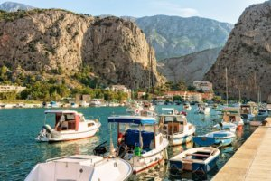SailBoats and harbor in Adriatic Sea in Omis Croatia
