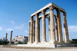 Temple of the Olympian Zeus and the Acropolis in Athens