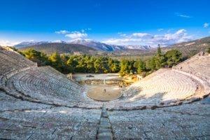 The ancient theater of Epidaurus (or 'Epidavros'), Argolida prefecture, Peloponnese, Greece.