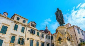 a monument to the poet Ivan Gundulic square in dubrovnik Old town