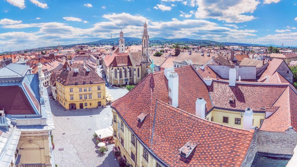 Historic Main square from Fire tower, Sopron, Hungary