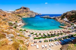 lindos acropolis and beach